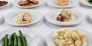 Closeup of food plates